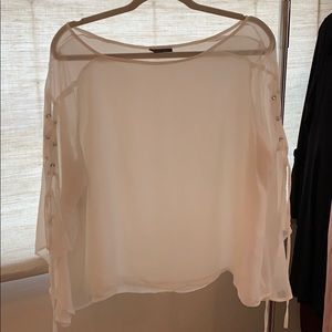 Topshop sheet white lace up long sleeve blouse